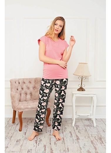 Piaff Kadın Pijama Pamuklu Çiçekli Üst Pantolon 2'li Takım Renkli